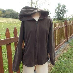 Columbia Brown Fleece Hooded Jacket Size XL
